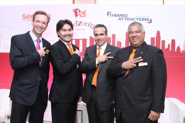 From left, Mike Barclay, Chief Executive Officer of Sentosa Development Corporation; Tunku Ali Redhauddin ibni Tuanku Muhriz, Director of Themed Attractions and Resorts Sdn Bhd; Xavier López Ancona, President and Chief Executive Officer of KidZania; and YM Tunku Dato' Ahmad Burhanuddin, Managing Director and Chief Executive Officer of Themed Attractions and Resorts Sdn Bhd.