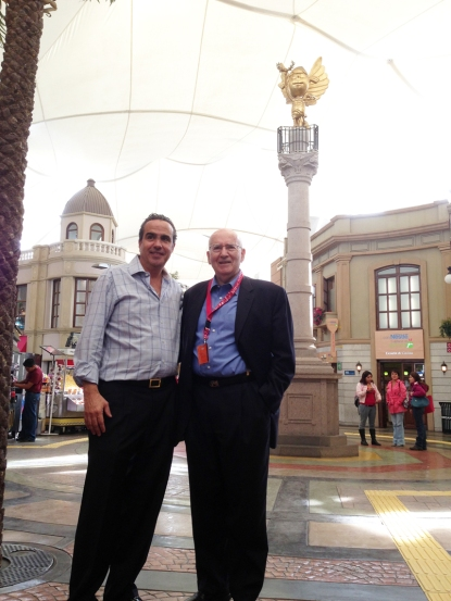 Xavier Lopez and Philip Kotler in front of one of the landmark monuments of KidZania Cuicuilco