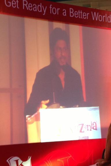 Bollywood actor Shah Rukh Khan during his speech at the Foundation Event of KidZania Mumbai