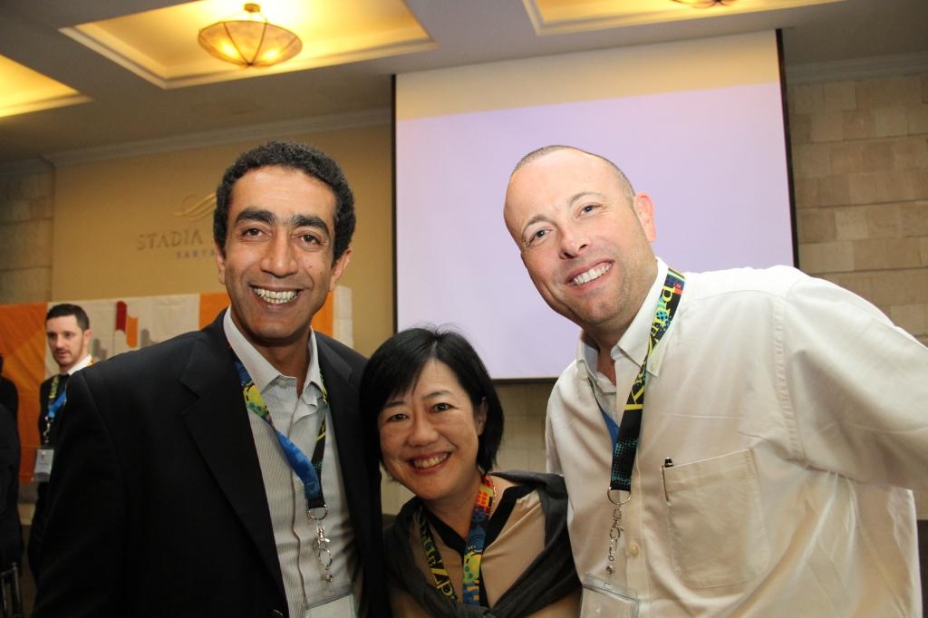 From left to right: Tarek Zidan, Yumiko Kinoshita and Stuart Birkwood
