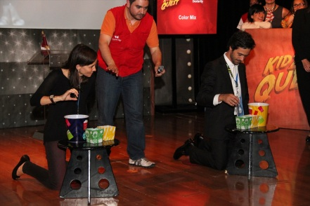 """Lara Sayinsoy and Pedro Fonseca during one of the Dexterity Challenges of the """"KidZania Quest"""" game"""