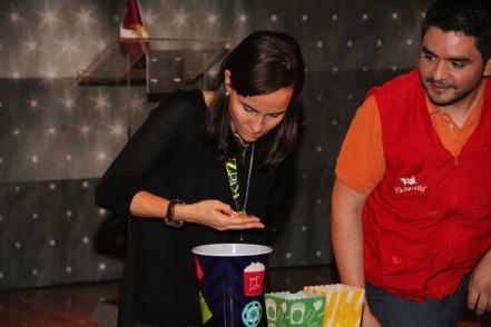 Lara Sayinsoy, Governor of KidZania Turkey, trying hard to separate yellow from green beads