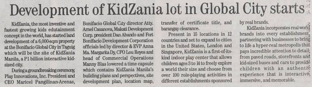 Daily Tribune - KidZania Manila