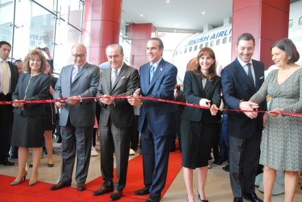 From left to right: Mrs. Meral Molinas, Mr. Mair Kasuto, Mr. Avni Çelik, Mr. Xavier López, Ms. Lara Sayinsoy, Mr. Raif Dinçkök and H. E. Mrs. Martha Bárcena.