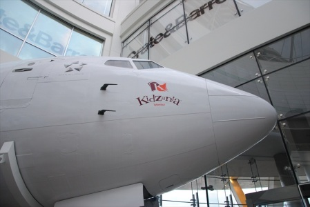 An airplane fuselage guards the entrance to KidZania Istanbul