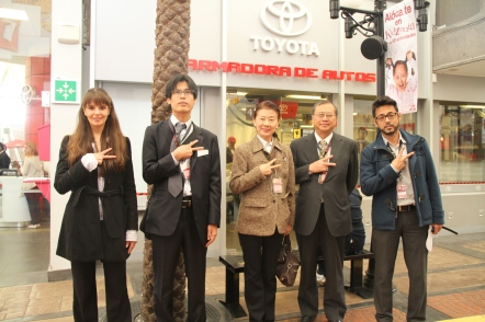 From left to right: Ms. Elba González -Manager, KidZania Hospitality-, Mr. Morio Sut-su -Second Secretary of the Political Section, Embassy of Japan to Mexico-, Mrs. Reiko Megata, H. E. Shuichiro Megata -Ambassador of Japan to Mexico-, and Mr. Erick Galicia -Counselor, Japan, South Korea and Mexico-, at the Toyota Car Manufacturing Plant of KidZania Cuicuilco in Mexico City.
