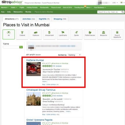 "KidZania Mumbai ranks #14 on ""Places to visit in Mumbai"""