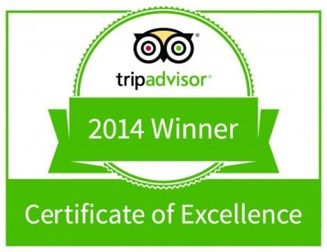 TripAdivisor Certificate of Excellence