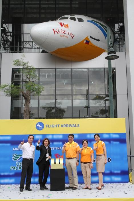 KidZania Manila and Cebu Pacific Air executives announcing the partnership