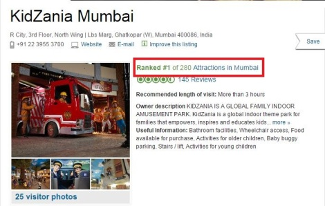 TripAdvisor Rank 1 - All Attractions Mumbai - 31st Oct KZMUM