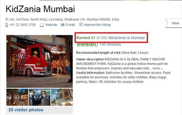 TripAdvisor Rank 1 - All Attractions Mumbai - 31st Oct KZMUM